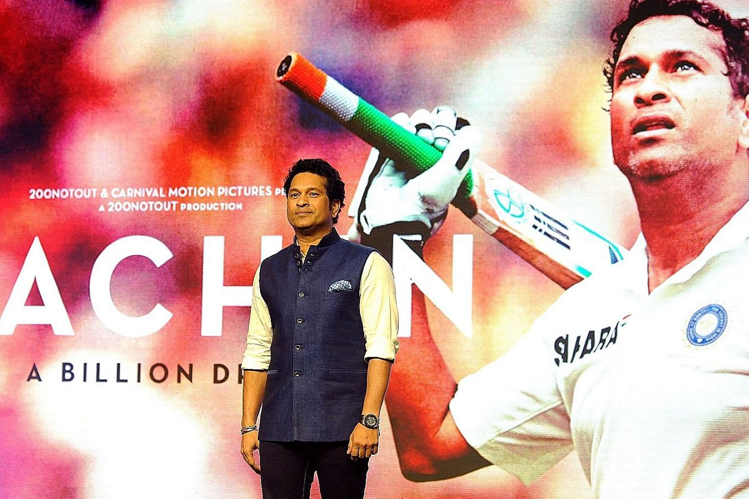 Indian cricket legend Sachin Tendulkar, seen here at a photo call in Mumbai for his forthcoming biopic Sachin: A Billion Dreams.