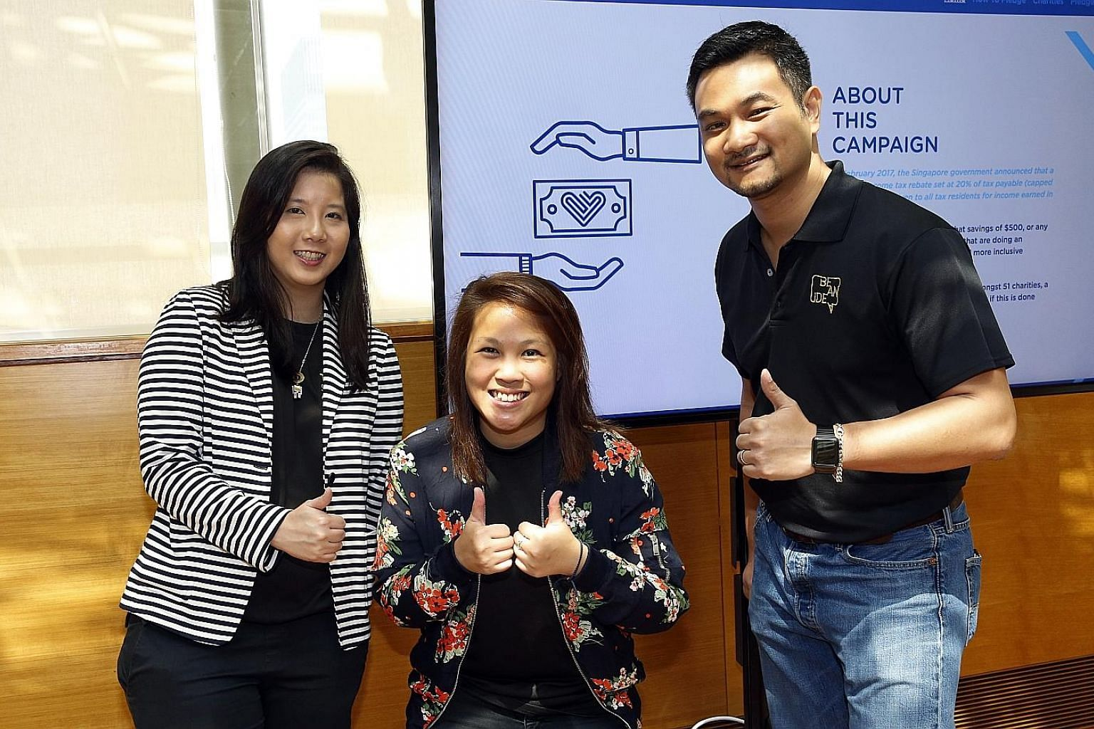 The Pledge It Forward initiative was started by (from far left) Ms Rebekah Lin, Ms Cheryl Chong and Mr Nadim van der Ros. Donations will benefit 51 charities that are members of the National Council of Social Service and hold an Institution of a Publ