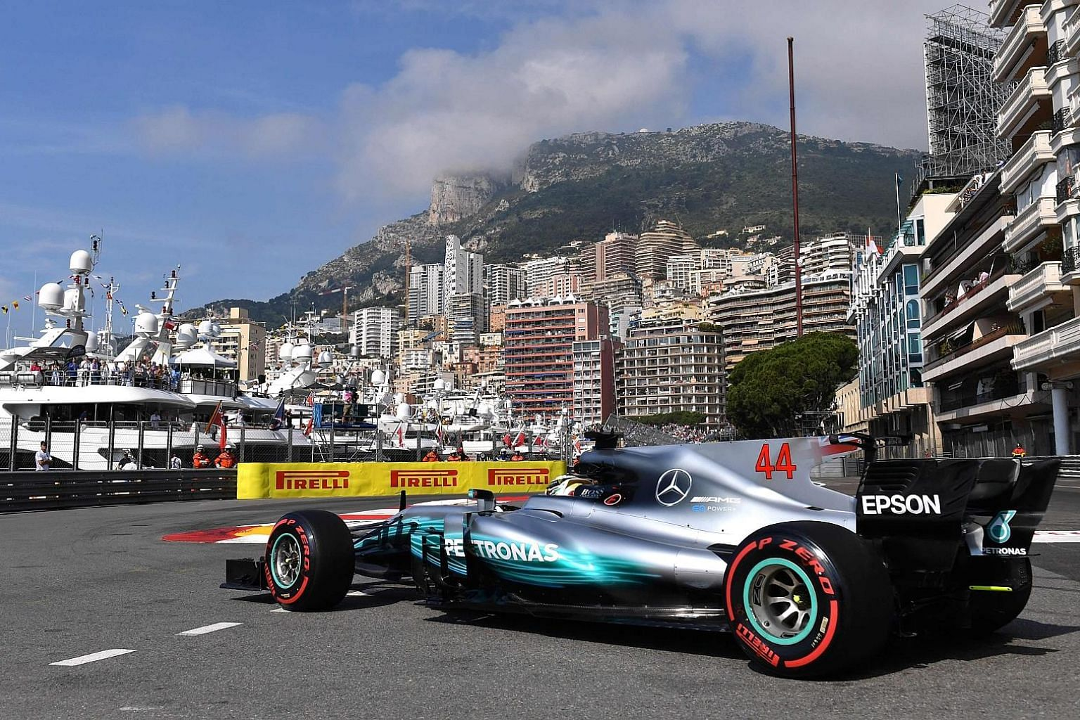 Lewis Hamilton on the Monaco circuit yesterday, when he and Valtteri Bottas finished eighth and 10th respectively in the second practice session, which was dominated by Ferrari driver Sebastian Vettel.