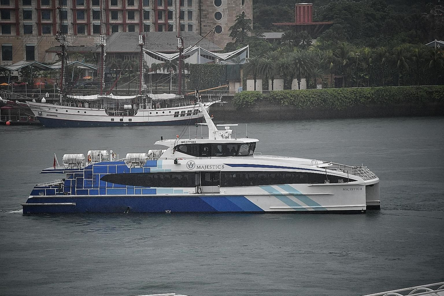 A Majestic Fast Ferry vessel leaving HarbourFront ferry terminal. Changi Airport's tie-up with the firm involves ferries shuttling between Batam Centre and Tanah Merah terminals, and buses from the terminal to the airport.