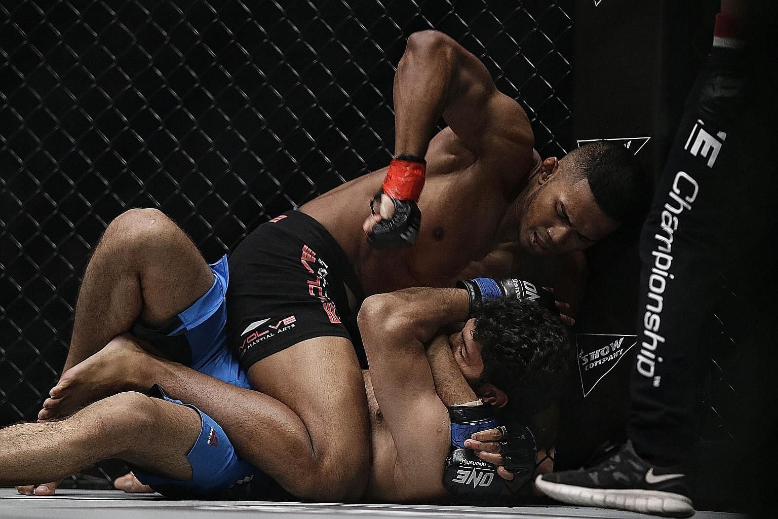 Singapore's mixed martial arts fighter Amir Khan pummelling India's Rajinder Singh Meena on his way to scoring a technical knockout win last night at One Championship's Dynasty of Heroes event held at the Singapore Indoor Stadium. Khan, 22, represent