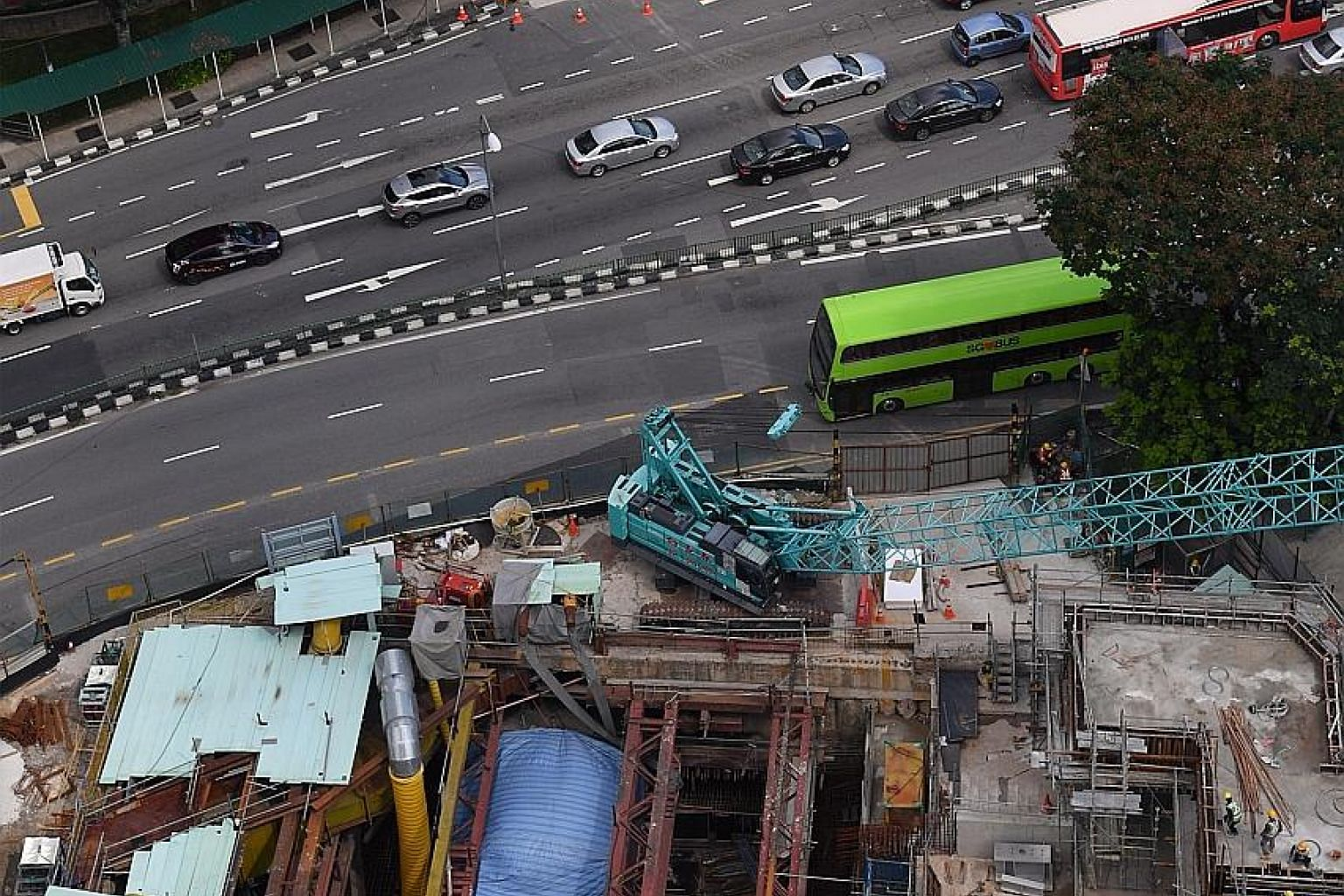 The third entrance (bottom of picture) of Bukit Panjang MRT station, in front of Block 605, Senja Road, under construction yesterday.