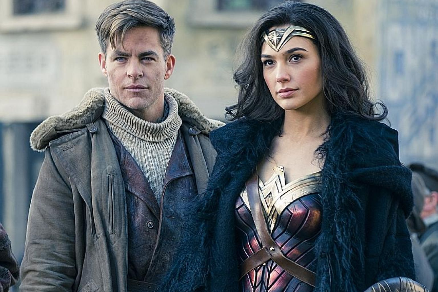 Chris Pine plays an American spy who inadvertently leads the German army to an island occupied by an all-female tribe of Amazon warriors, including Wonder Woman, played by Gal Gadot.