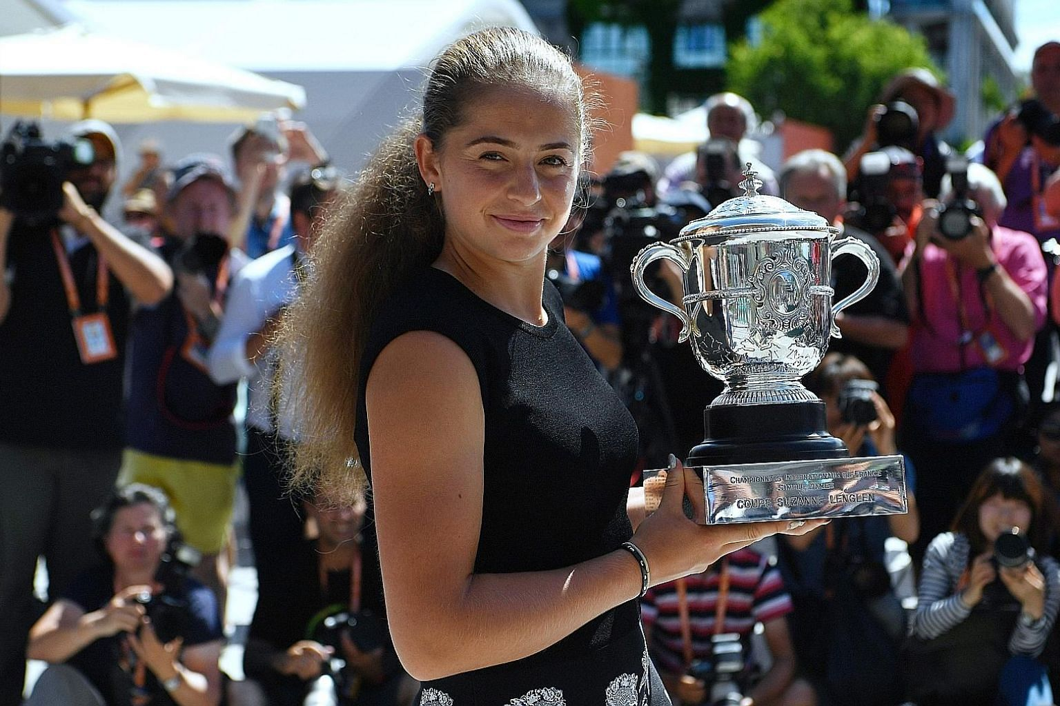 Latvia's Jelena Ostapenko with her French Open trophy. She said her ambition is to win the other three Grand Slams as well.