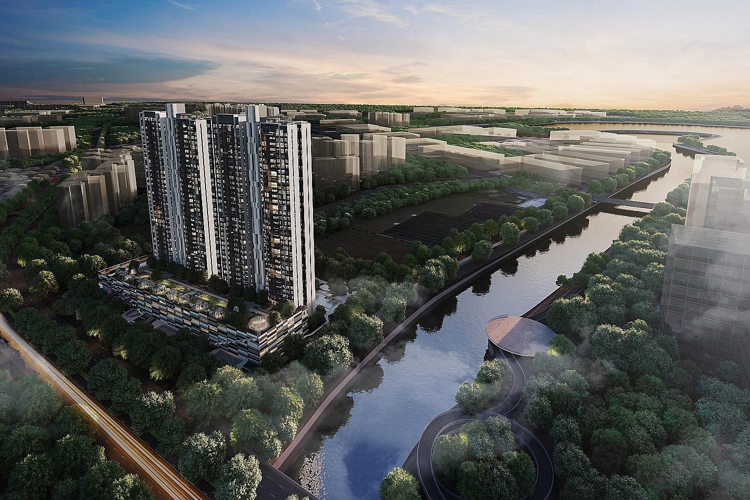 Artist's impression of Parc Riviera in West Coast Vale. The condo was the top-selling private residential project last month. It saw 83 units sold at a median price of $1,246 psf.