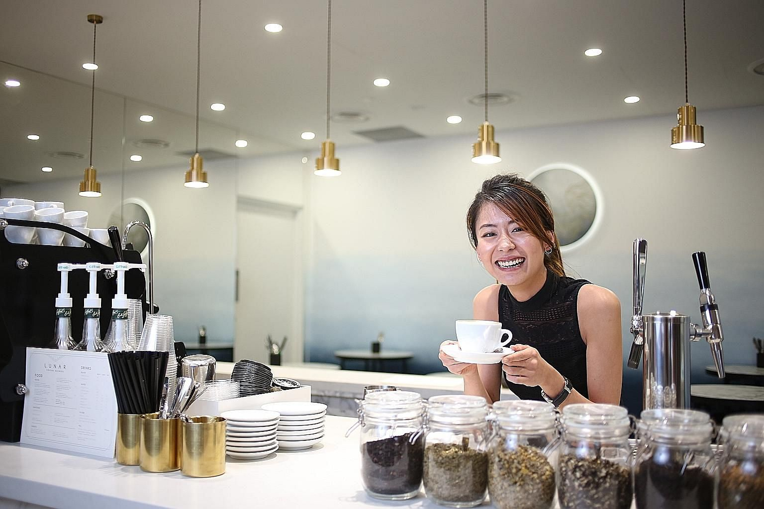 Ms Daphne Goh (above) opened Lunar Coffee Brewers this month at Downtown Gallery, where food and beverage concepts make up 30 per cent of the tenant mix.
