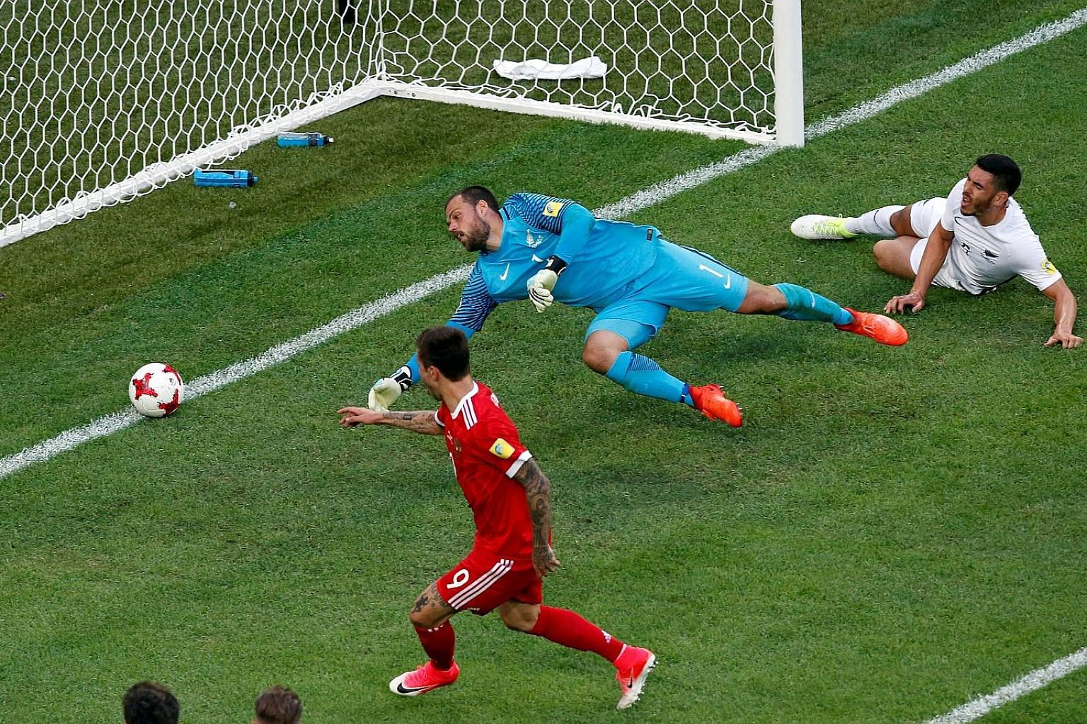 Russia's Fedor Smolov scoring his team's second goal against New Zealand in the opening match of the Confederations Cup on Saturday. The match ended 2-0 in favour of the Russians and they will face a tougher test against Euro 2016 champions Portugal
