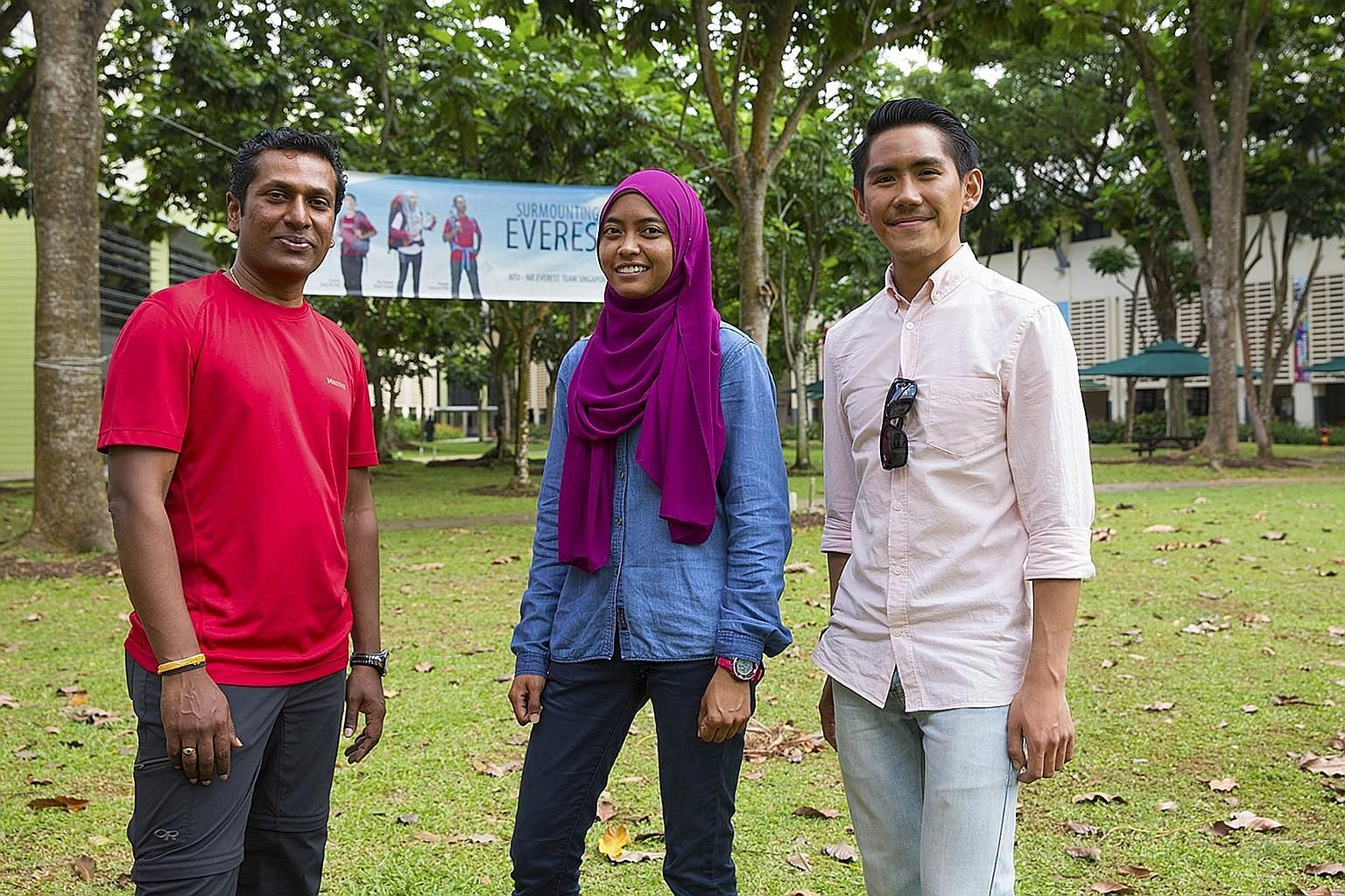 NTU-NIE Everest Team Singapore members Arjunan Saravana Pillai, 47, Nur Yusrina Ya'akob, 30, and Jeremy Tong, 26. Ms Yusrina was the only one of the trio who managed to summit Mount Everest last month. Mr Tong is now planning a second bid via the mor