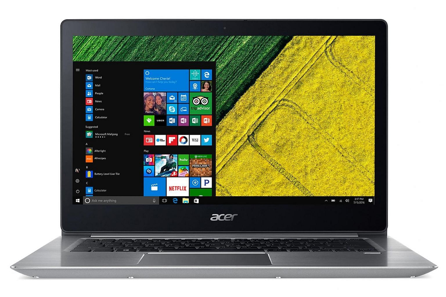 The Acer Swift 3 display is protected by Corning Gorilla Glass and is glossy and reflective. Viewing angles, are good, thanks to the use of an in-plane switching panel.