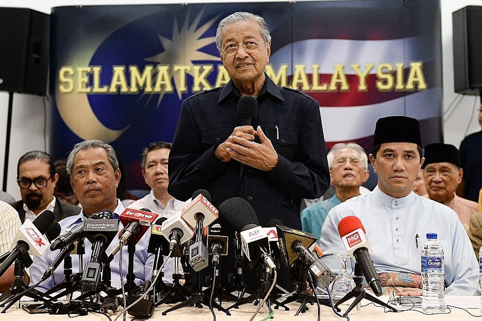 Tun Dr Mahathir Mohamad at a media conference with members of the opposition in March last year. He has been lobbying for his Malay-based party to be the dominant force in Pakatan Harapan.