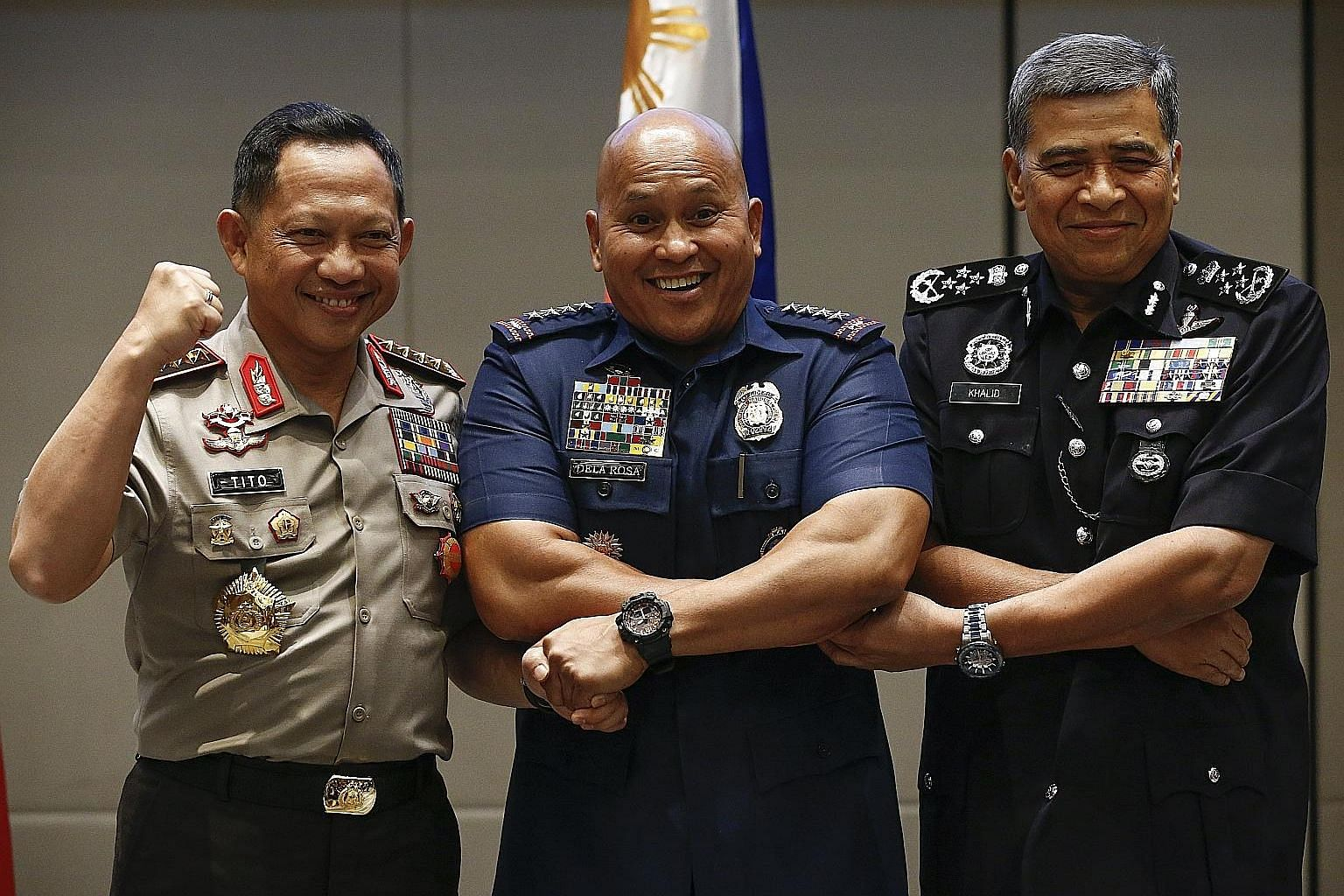 Indonesian Chief of National Police Tito Karnavian (fom left), Philippine National Police Director-General Ronald Dela Rosa and Malaysian Police Inspector-General Khalid Abu Bakar at the conference.