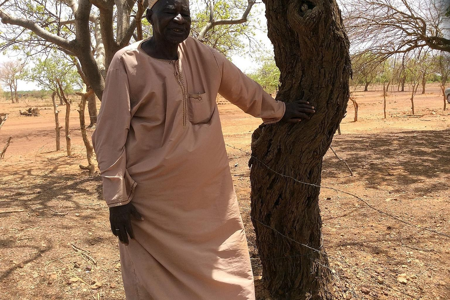 Mr Yacouba Sawadogo's re-vegetation of the desert involves digging holes in the ground and filling them with organic waste. This draws termites which then dig tunnels that enable the collection of rainwater in the rainy season. All that is left is to