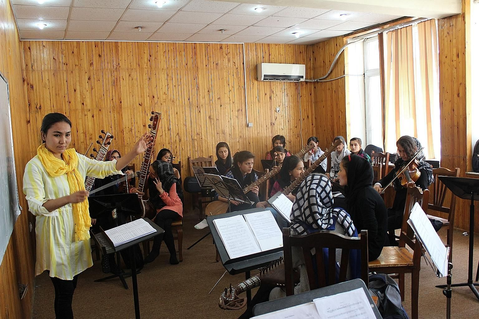 The Zohra Orchestra is the first in Afghanistan to be made up exclusively of girls. It held its first event at the Canadian Embassy in Kabul. The musicians range in age from 12 to 21, and have had the opportunity to play internationally, like at the