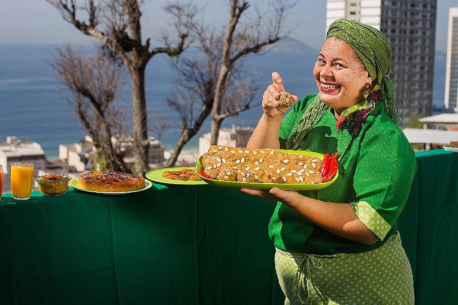 Ms Regina Tchelly with her pumpkin peel buns and other culinary delights made from leftovers. She tries to create food that is beautiful and also has a lot of heartfelt memory.