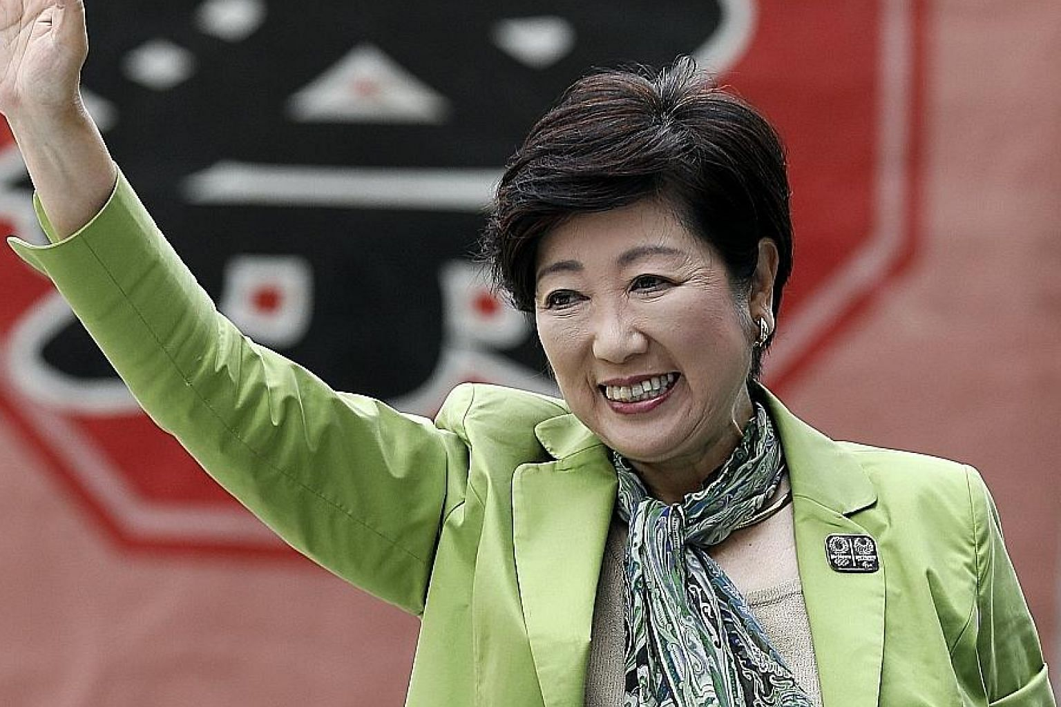 Tokyo governor Yuriko Koike on the campaign trail yesterday. She is leading her new Tomin First no Kai (Tokyoites First) party into the contest for the Tokyo metropolitan assembly.