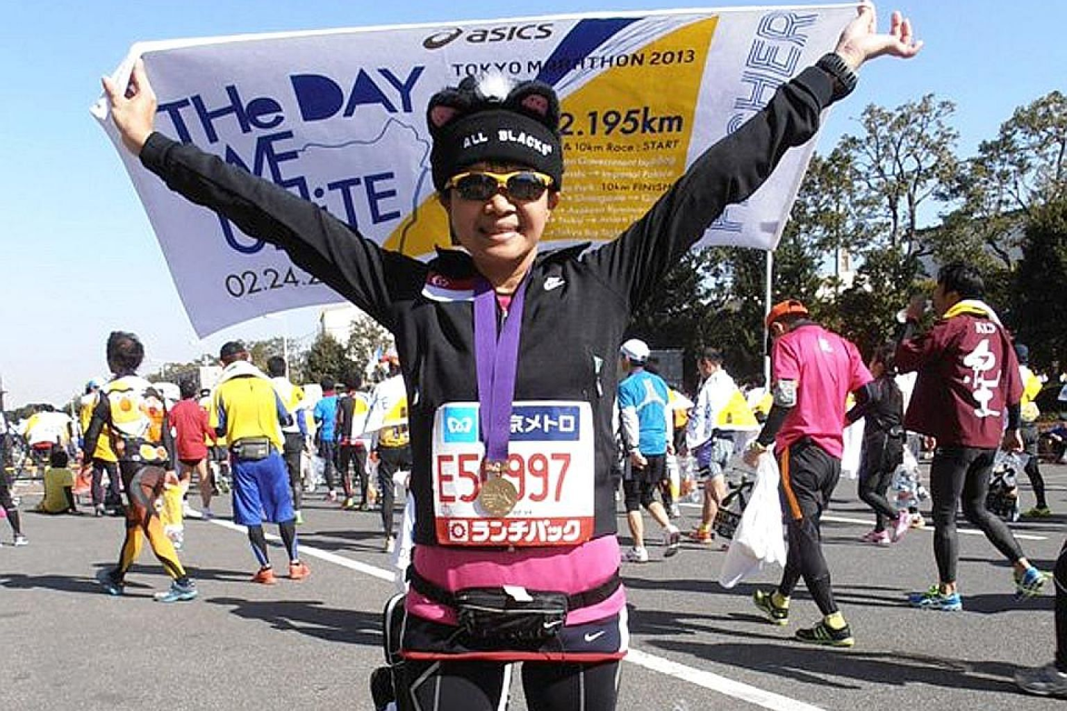 Ms Doris Teo at the 2013 edition of the Tokyo Marathon, one of her favourite overseas races and which she says has the best supporters.