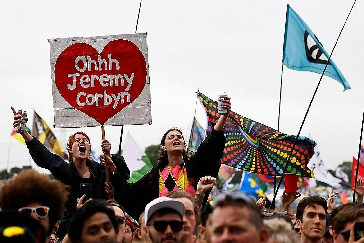 Revellers cheering Labour Party leader Jeremy Corbyn at Worthy Farm in Somerset during the Glastonbury Festival last Saturday.