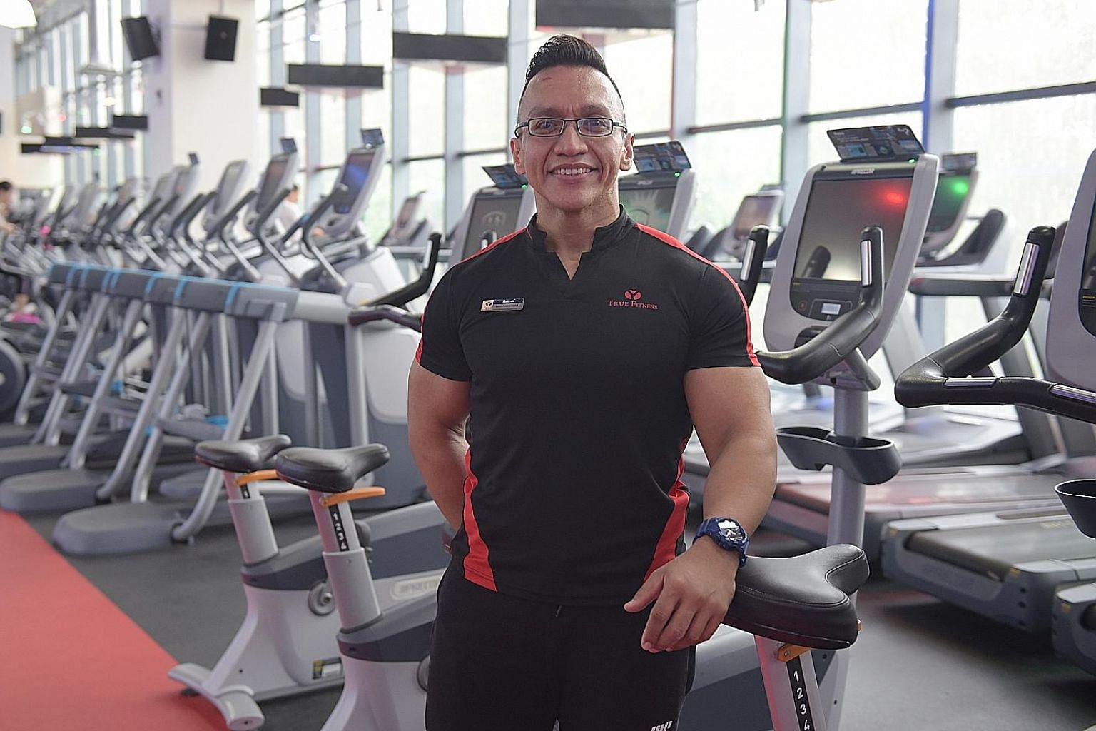 Personal trainer Mohamed Faizal Abdullah in his element at the True Fitness gym at Djitsun Mall.