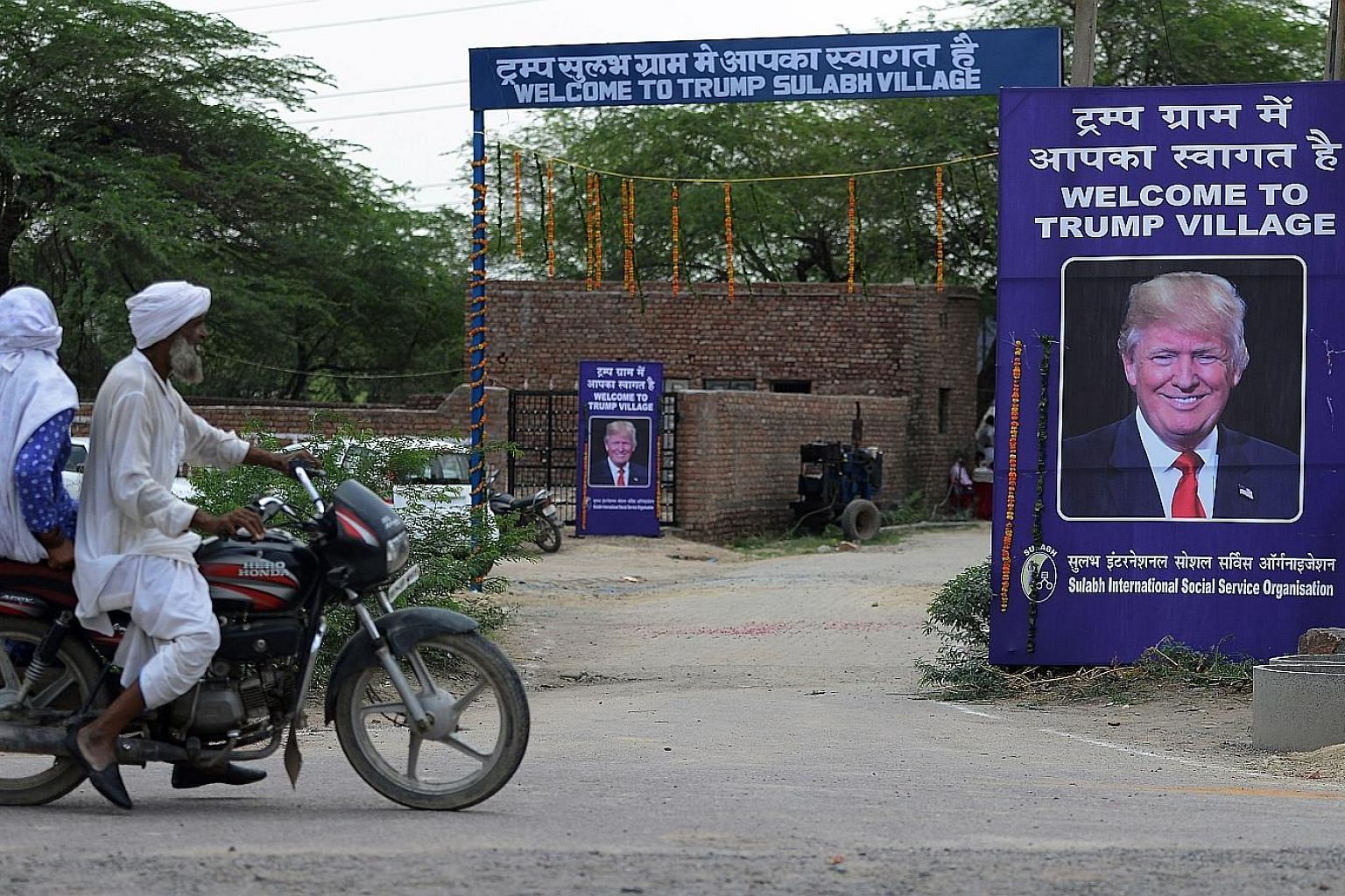 "Aid group Sulabh International, which says it has built 1.5 million toilets across India, has set up ""Trump Village"" signs around Marora, hoping the gesture will raise awareness of a major social problem in the country."