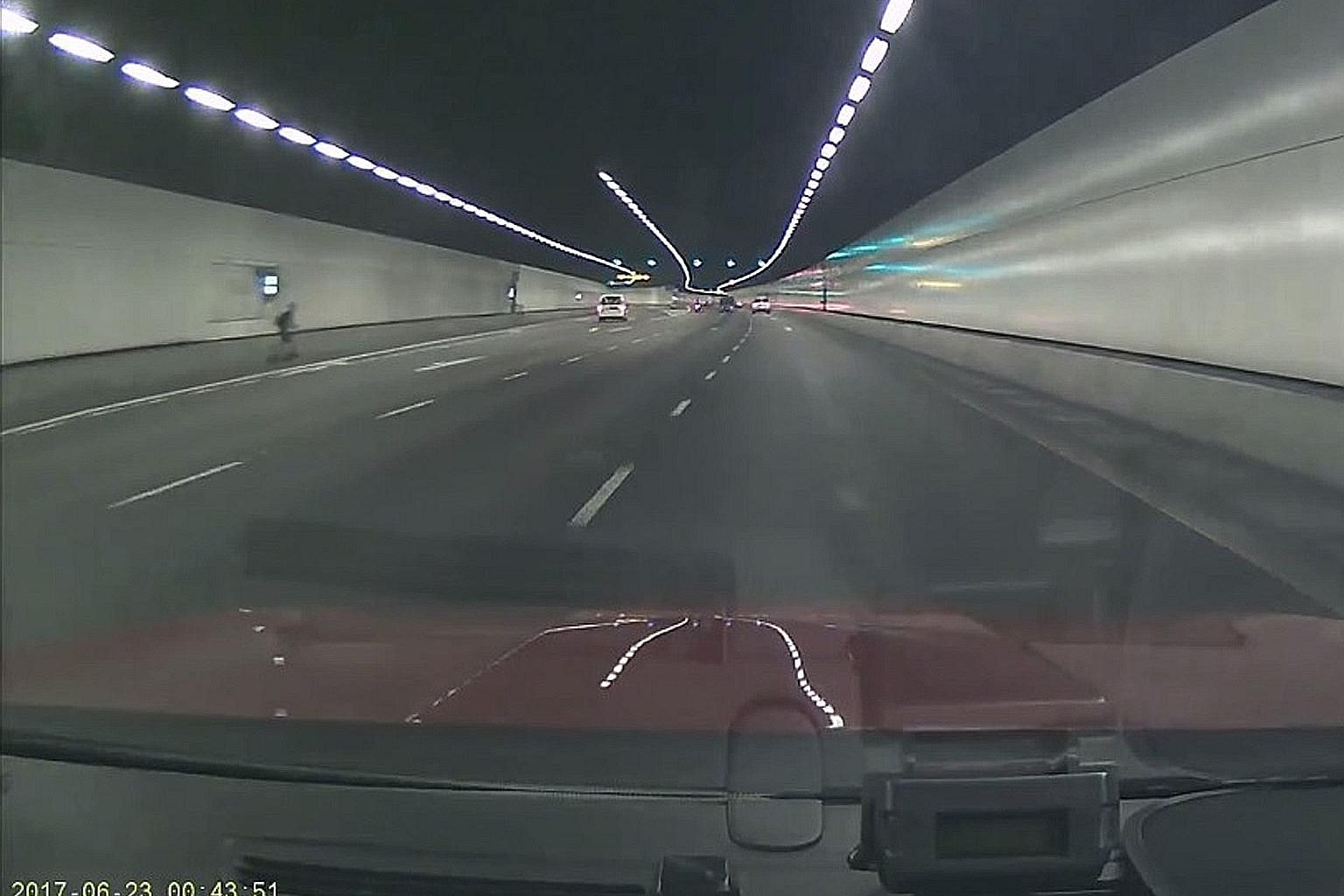 A video uploaded on the Roads.sg Facebook page shows a person riding an electric scooter along the road shoulder of a Kallang-Paya Lebar Expressway tunnel early last Friday morning.