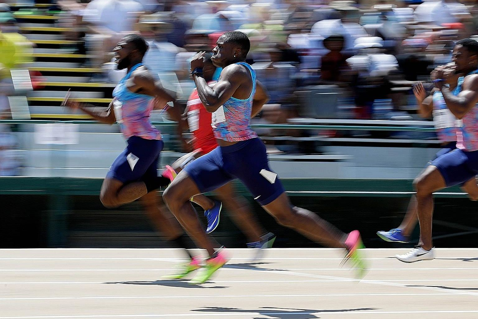 Christian Coleman chasing down Ameer Webb in the 200m final at the US championships at Hornet Stadium in Sacramento, California on Sunday, before losing out by a whisker.