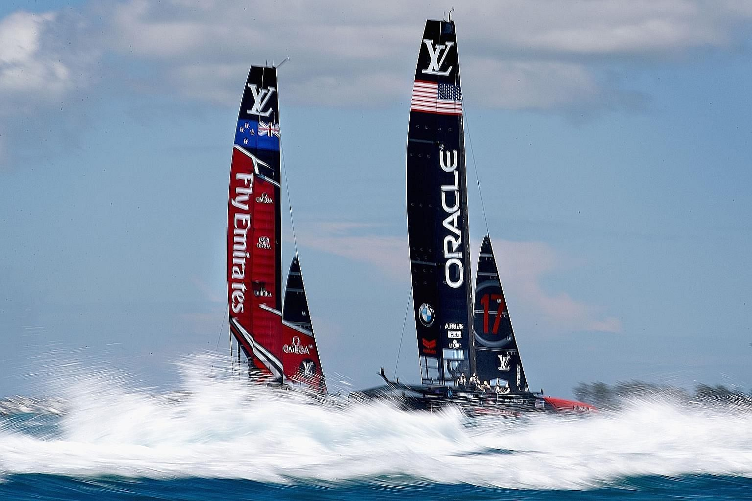 Oracle Team USA skippered by Jimmy Spithill playing catch up against Emirates Team New Zealand helmed by Peter Burling on Sunday in Hamilton, Bermuda. The Kiwis won both races to stretch their America's Cup lead to 6-1 but are taking nothing for gran