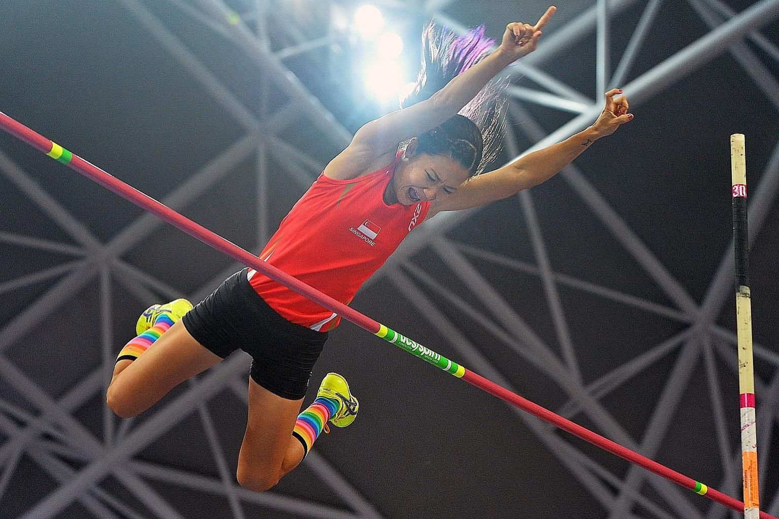 National pole vaulter Rachel Yang will be representing Singapore at the Kuala Lumpur SEA Games from Aug 19-30. She holds the national record of 3.91m in her event.
