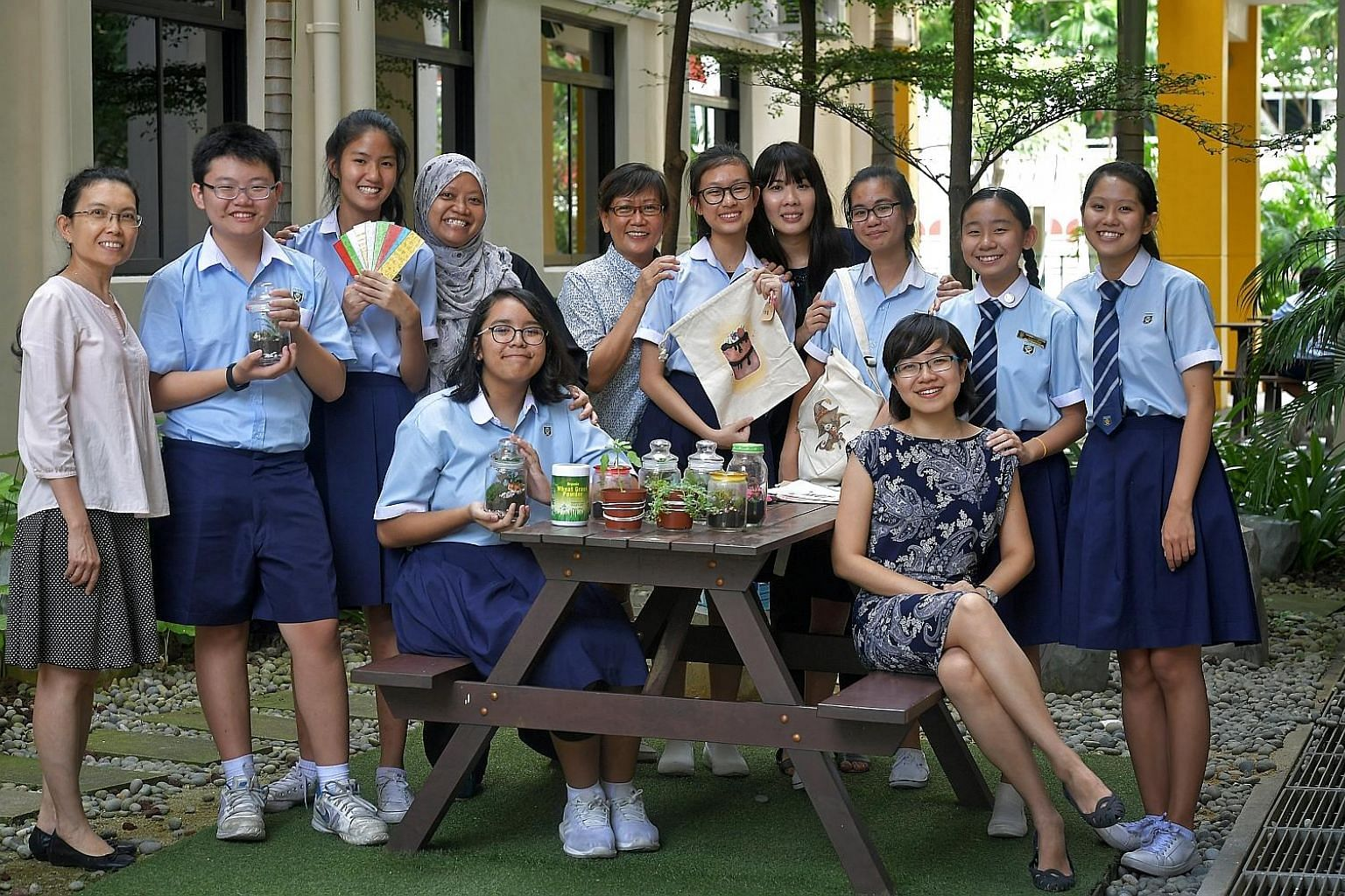 Teachers and students from Ngee Ann Secondary School involved in raising money for SPMF include (back row, from left): teacher Tan Foong Heng, Yu Haitao, Valerie Tang, teachers Ashiqin Abdul Ra'uuf and Lim Soon Jong, Casselynn Chua, teacher Sarene Lo