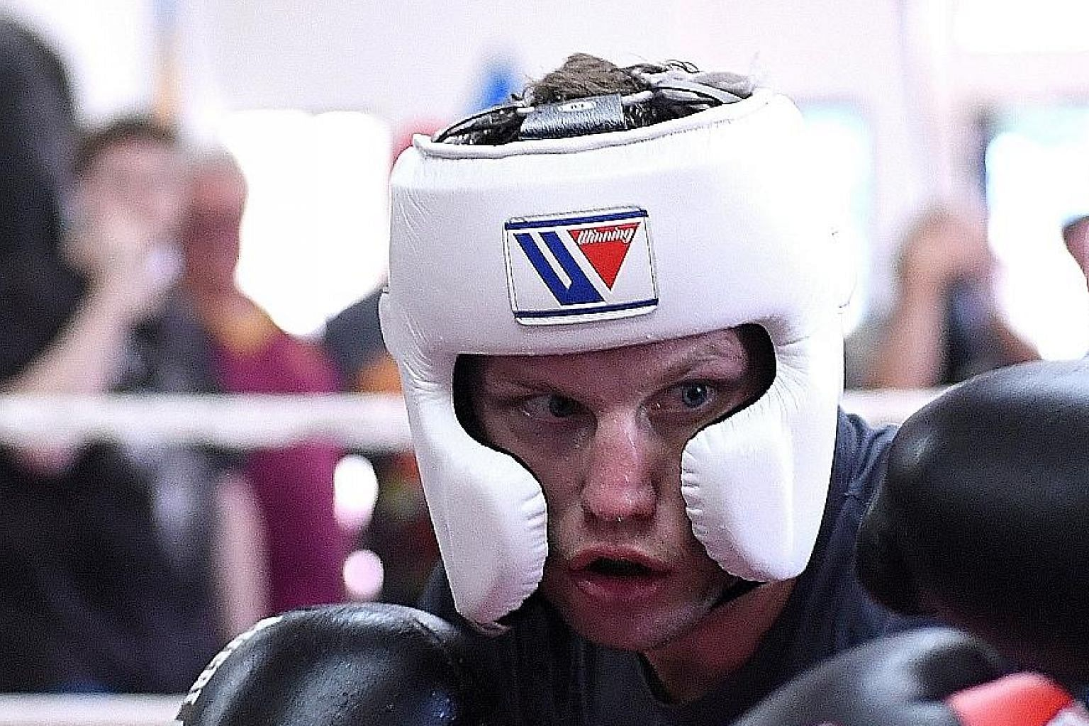 Australia's Jeff Horn during a sparring session against Czar Amonsot, his Filipino sparring partner, last week.
