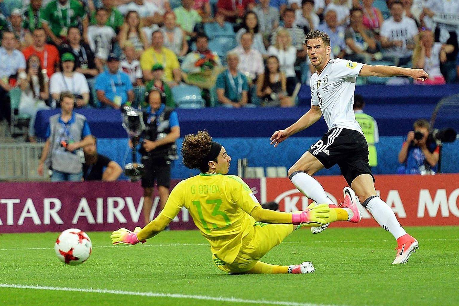 Leon Goretzka scoring his second goal past Mexico custodian Guillermo Ochoa in Germany's 4-1 win. He is eager to play Chile again after the 1-1 group-stage draw.