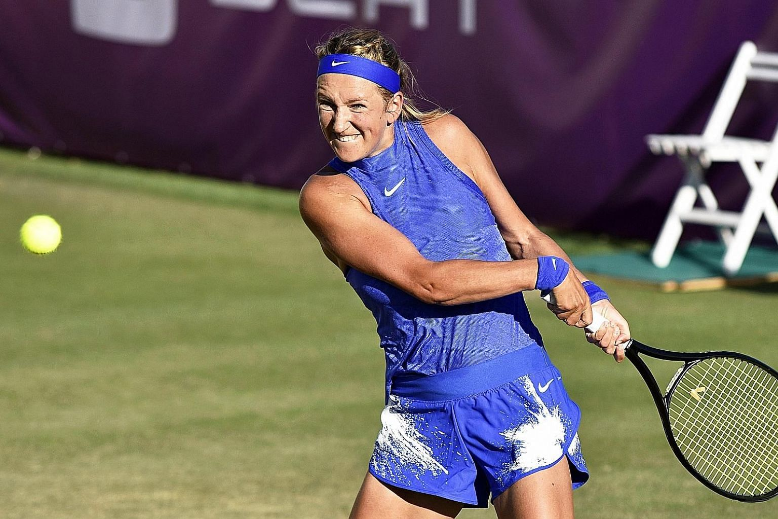 Victoria Azarenka, playing in her first match back after giving birth, in Mallorca last month, looks forward to Wimbledon.