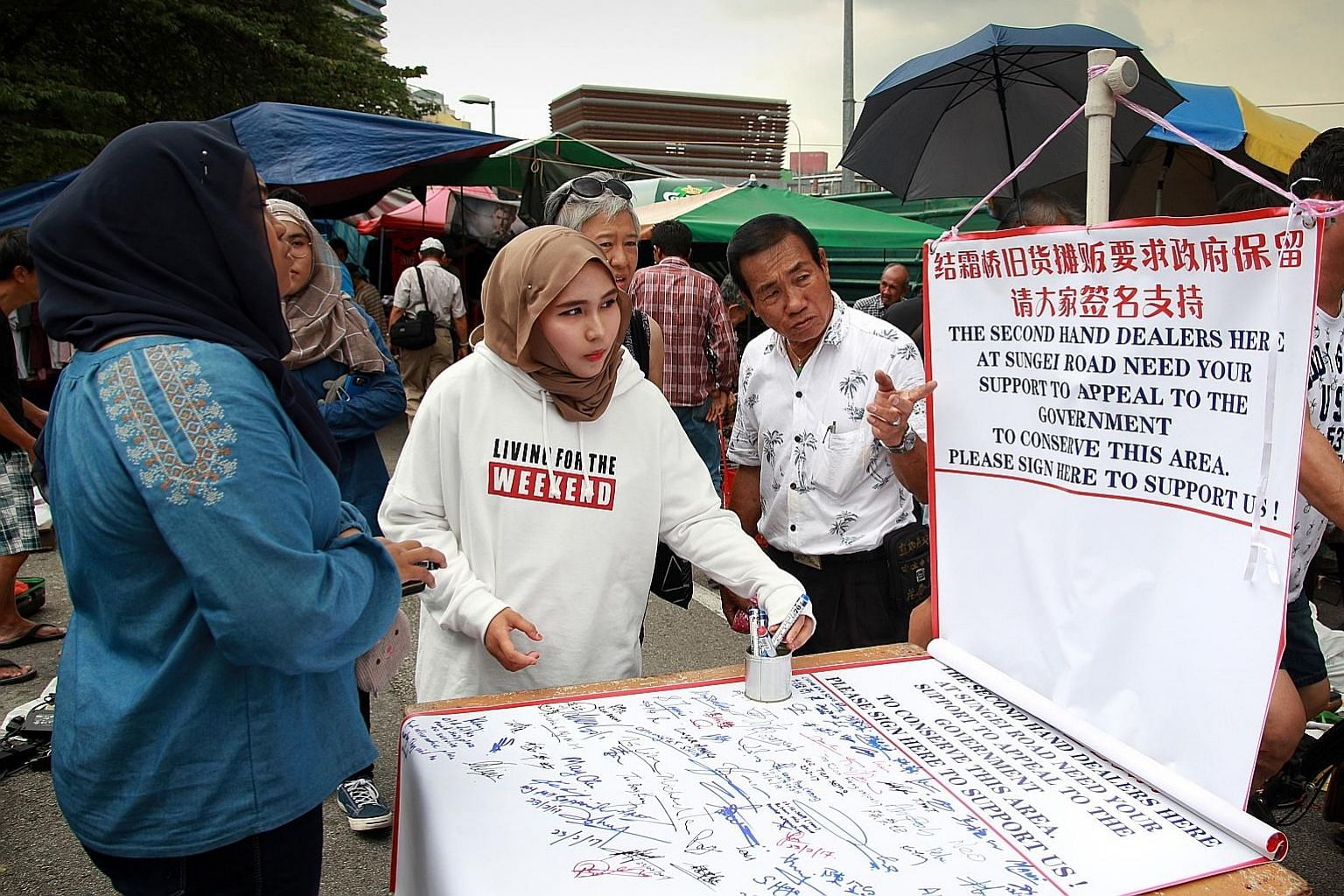 Earlier this year, signatures were collected for the purpose of appealing to the Government to review its decision to shut down the Sungei Road market.