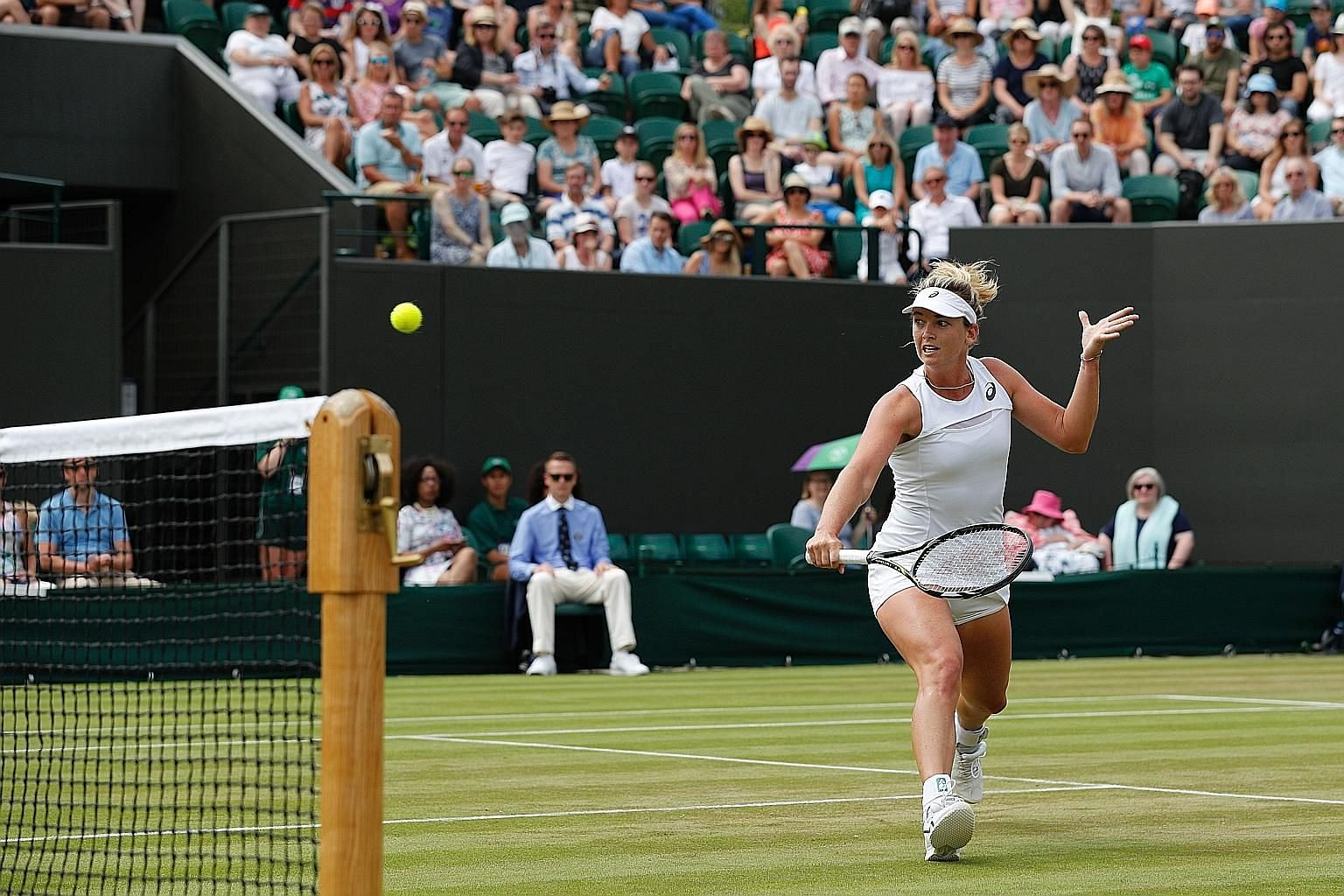 Vandeweghe making a backhand return in her win over fellow American Alison Riske in the third round. On current form, she will be confident of her chances against former world No. 1 Caroline Wozniacki in the last 16 today.