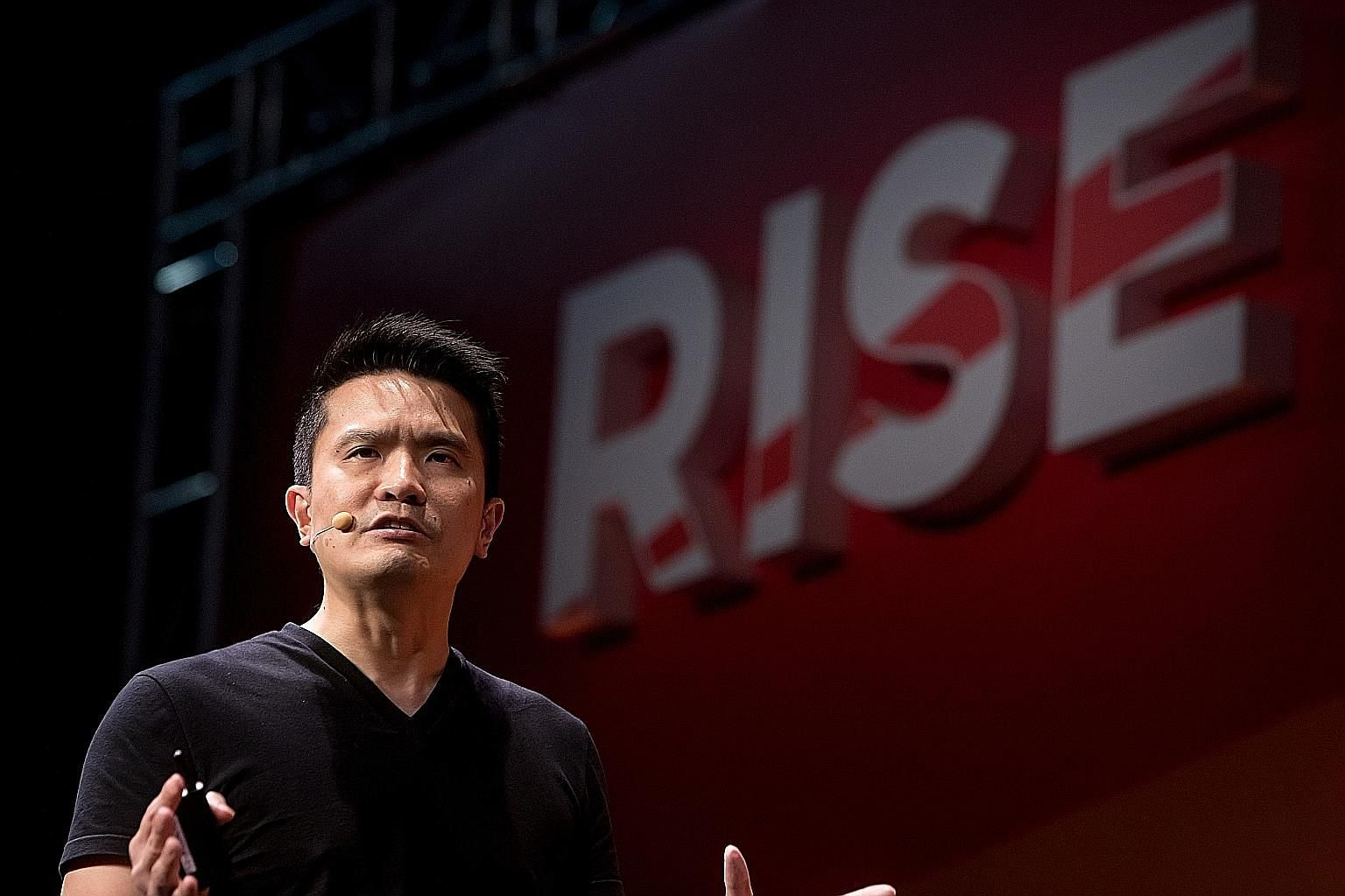 Mr Tan Min-Liang, chief executive and chairman of Razer, speaking at the Rise tech conference in Hong Kong yesterday.