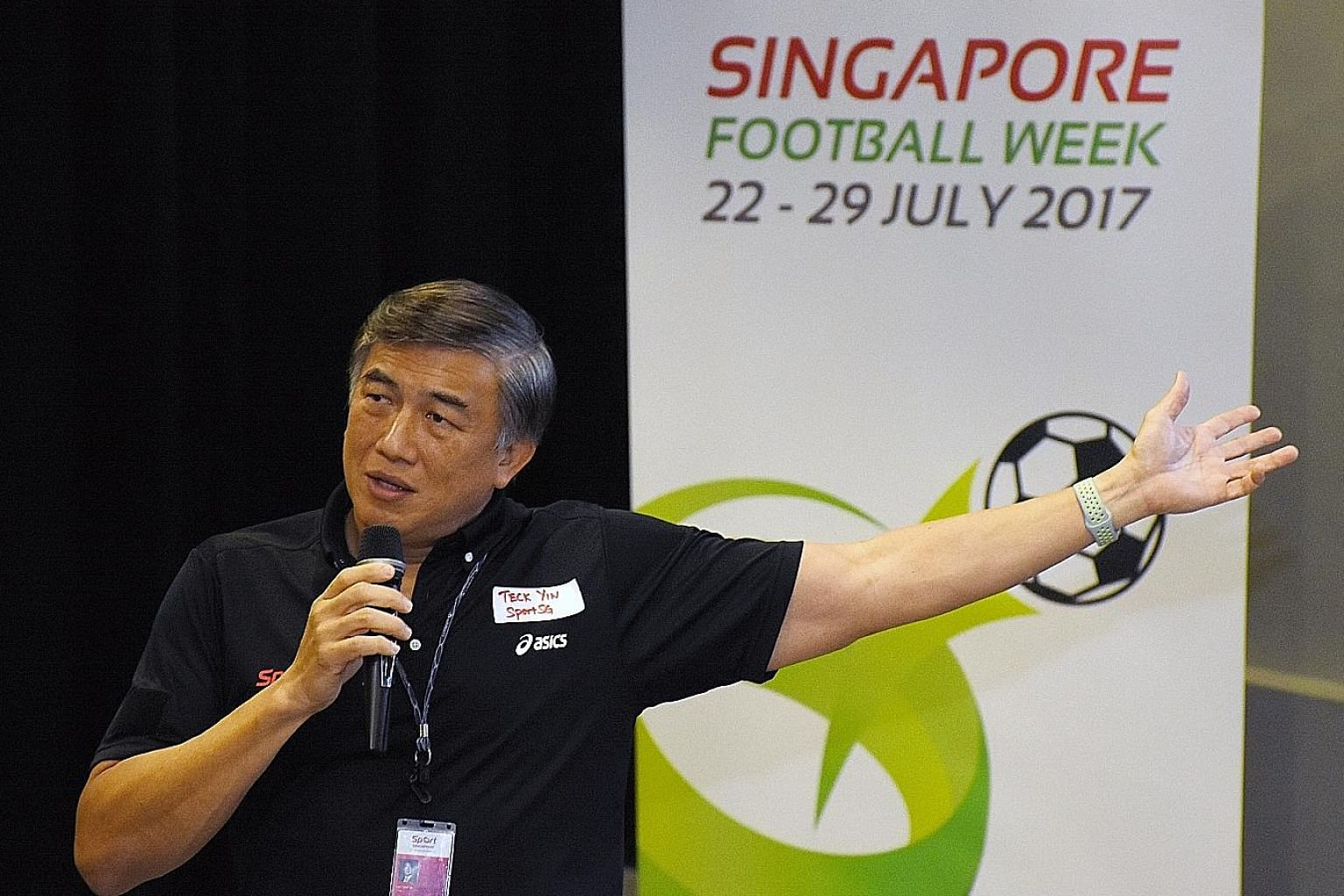 SportSG chief Lim Teck Yin speaking at the launch of Singapore Football Week. The July 22-29 festival will even cater to those who do not actually kick a ball - e-gamers, foosball and sports table football players.