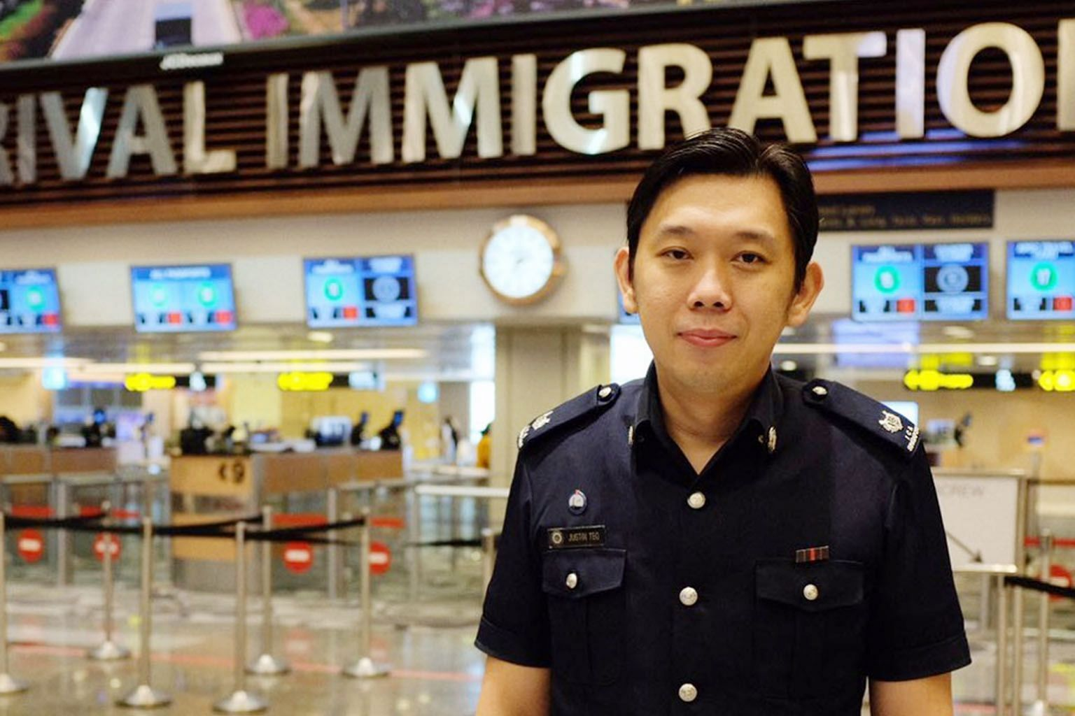 Assistant Superintendent Justin Teo Kok Quan helped a Thai tourist who was having labour pains with immigration clearance. He also contacted the medical team at at Changi Airport.