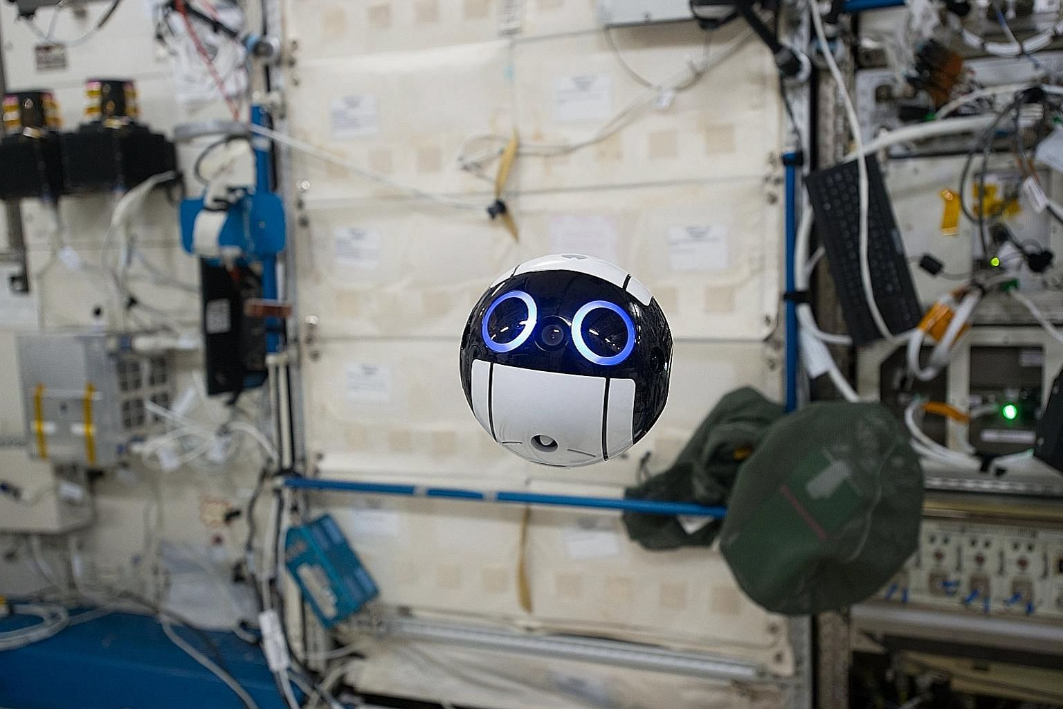 """A handout photo issued yesterday showing the JEM Internal Ball Camera or """"Int-Ball"""" taking a video on the International Space Station (ISS) last month. The Int-Ball was delivered to the Japanese Experiment Module, nicknamed Kibo, on the ISS on June 4"""