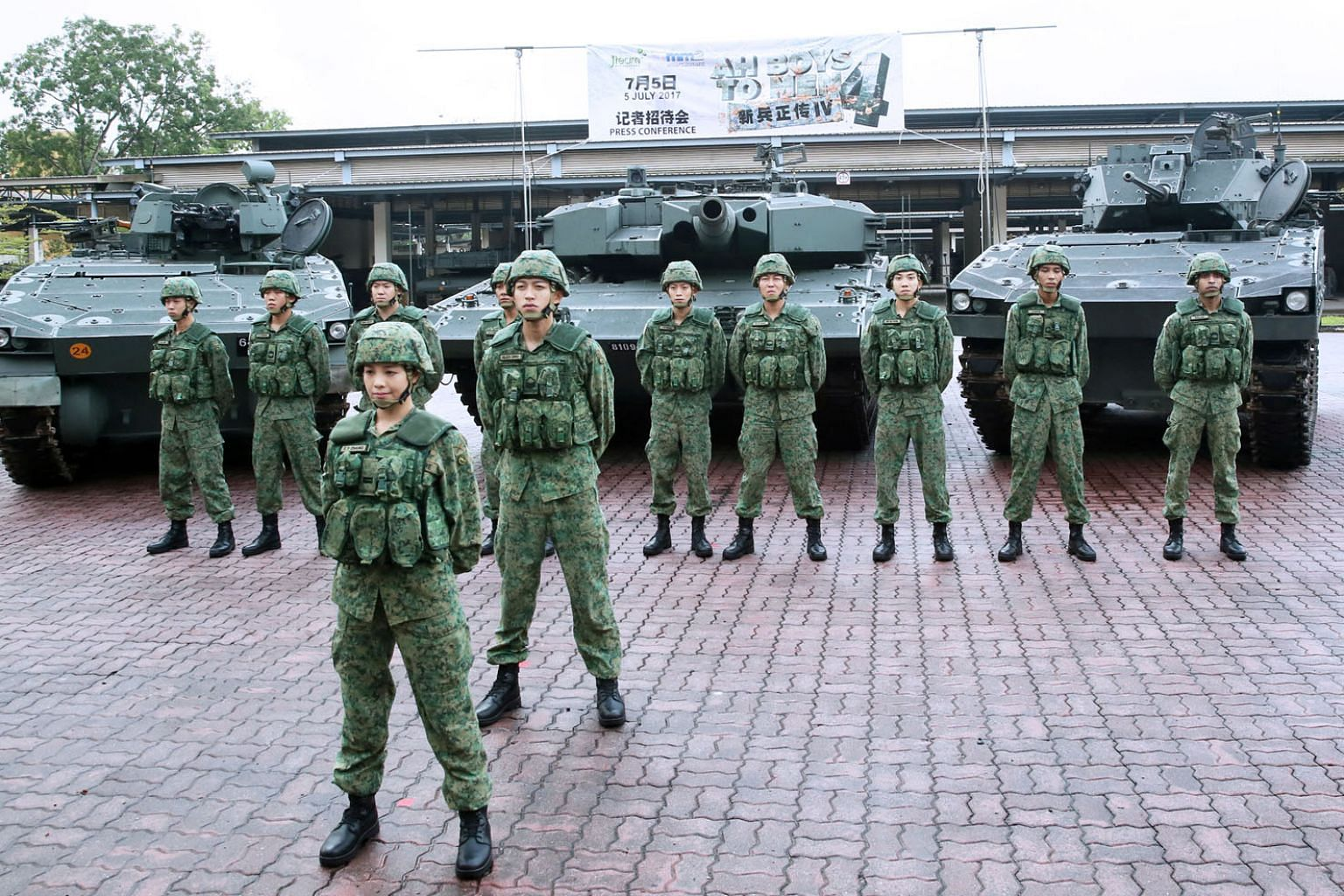 Actress Apple Chan at Sungei Gedong Camp for the press conference of the movie Ah Boys To Men 4, where she plays an armour unit officer. The latest instalment of the military comedy, due in November, features a woman as a main character for the first time