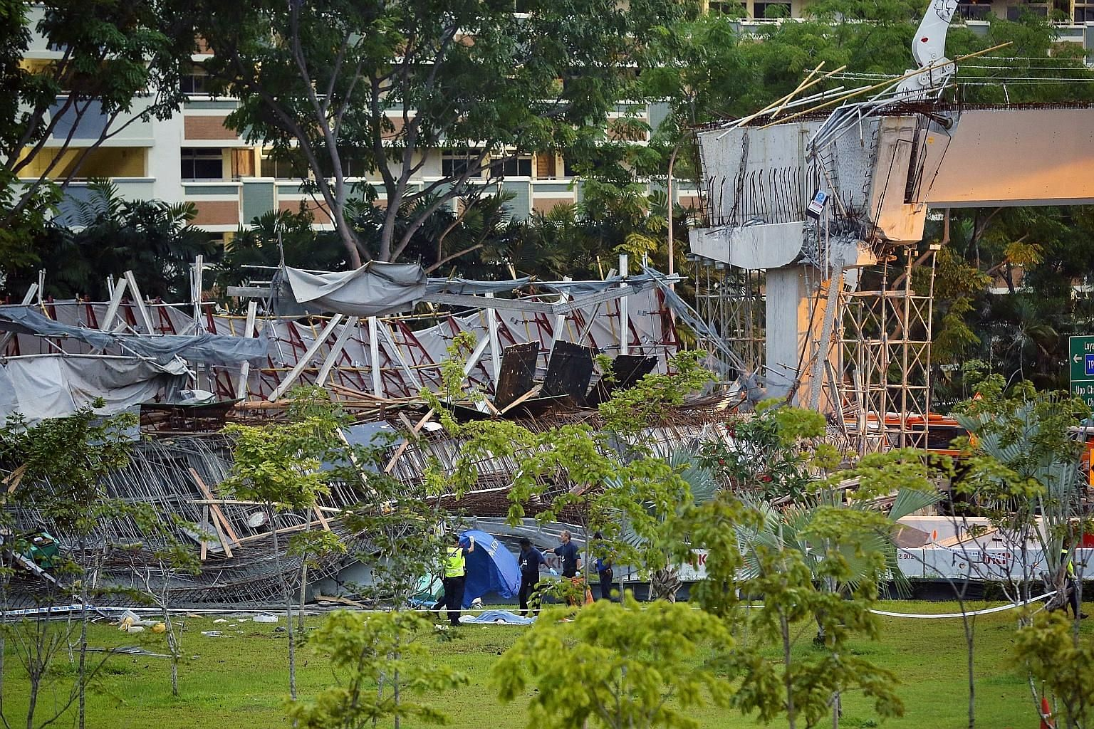Mr Chen Yinchuan, 31, was killed when a section of the viaduct being constructed in Upper Changi Road East collapsed last Friday. Two of the 10 injured are still in critical condition, with hospital staff working to treat their most urgent injuries a