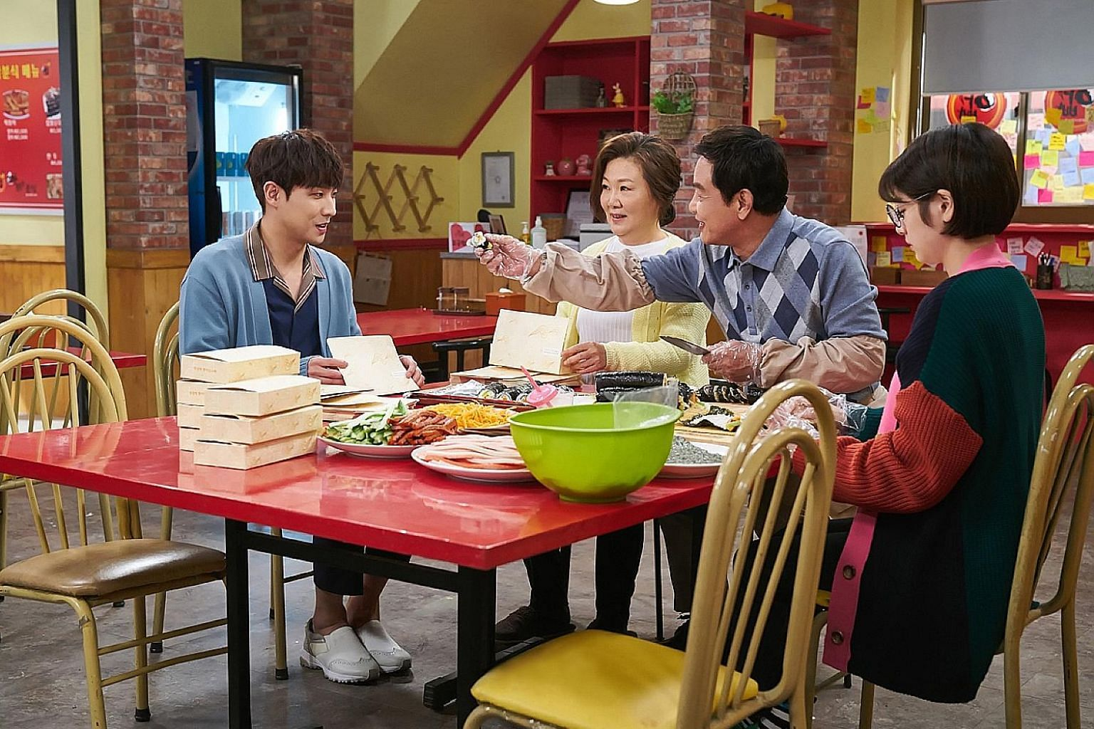 My Father Is Strange stars (above from far left) Lee Joon, Kim Hae Suk, Kim Yeong Cheol and Jung So Min.
