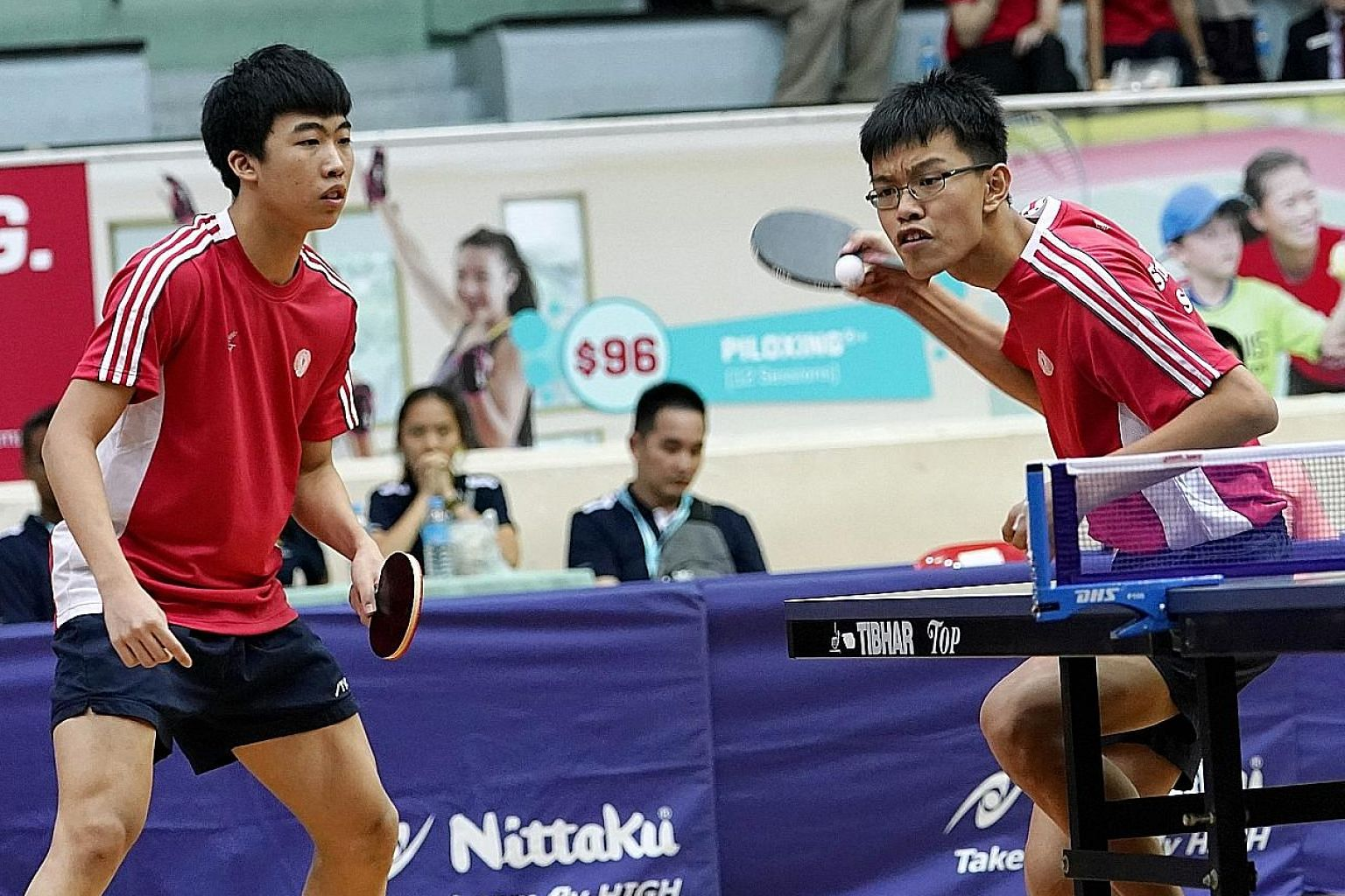 Singapore's Gerald Yu (left) and Josh Chua in the boys' doubles final against Vietnam's Le Dinh Duc and Nguyen Anh Duc at the Toa Payoh Sports Hall. They won 11-3, 11-8, 11-6.