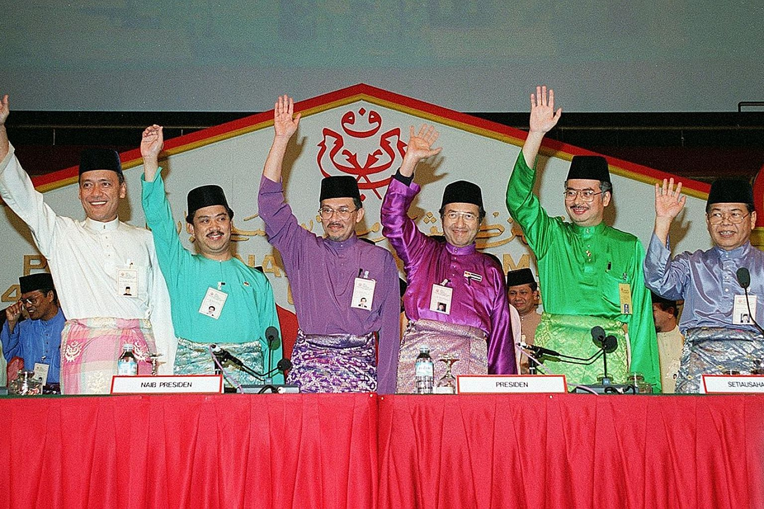 Seen in this photo taken at the Umno general assembly in November 1993 are (from left) then Umno vice-presidents Muhammad Muhammad Taib and Muhyiddin Yassin, deputy president Anwar Ibrahim, president Mahathir Mohamad, vice-president Najib Razak and s