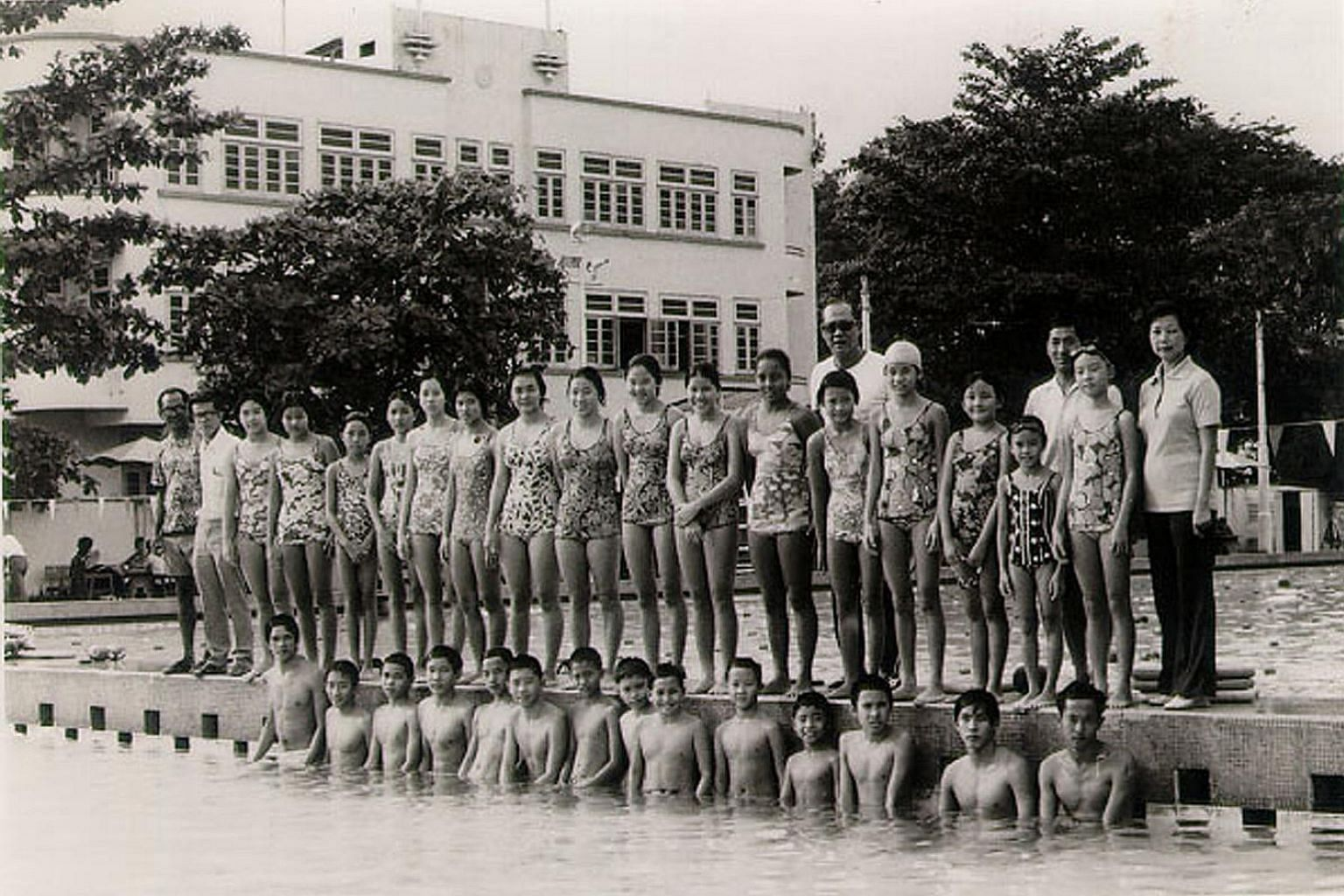 A group of young swimmers at the Chinese Swimming Club in the 1970s.