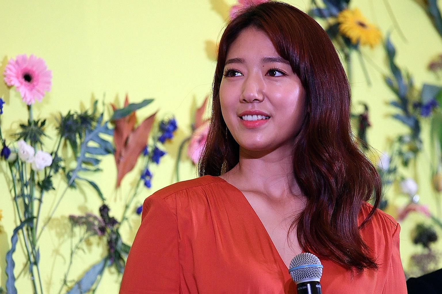 South Korean star Park Shin Hye at a press event for South Korean beauty label Mamonde yesterday.