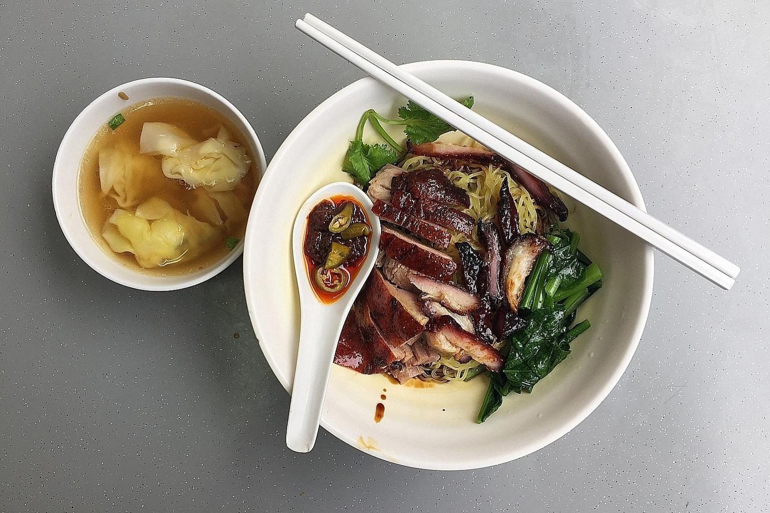 The wonton noodles with char siew and roast duck.
