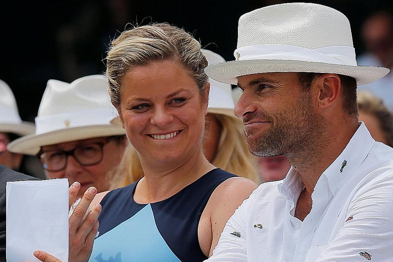 Former top-ranked players Kim Clijsters of Belgium and American Andy Roddick, both 34, waiting to be inducted into the International Tennis Hall of Fame in Newport, Rhode Island. Clijsters won four Grand Slam singles titles while Roddick was victorio