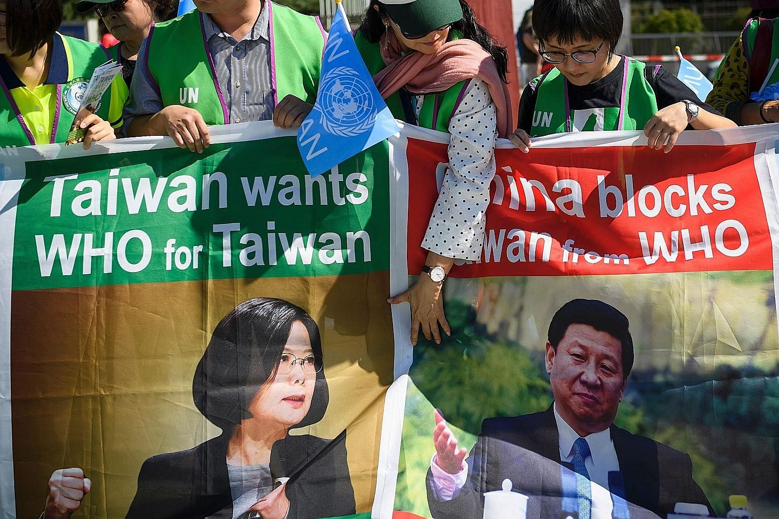 Pro-Taiwan protesters demonstrating outside the United Nations offices on the opening day of the World Health Organisation's (WHO) annual meeting in Geneva, Switzerland, in May. China has consistently blocked Taiwan's efforts to take part in internat