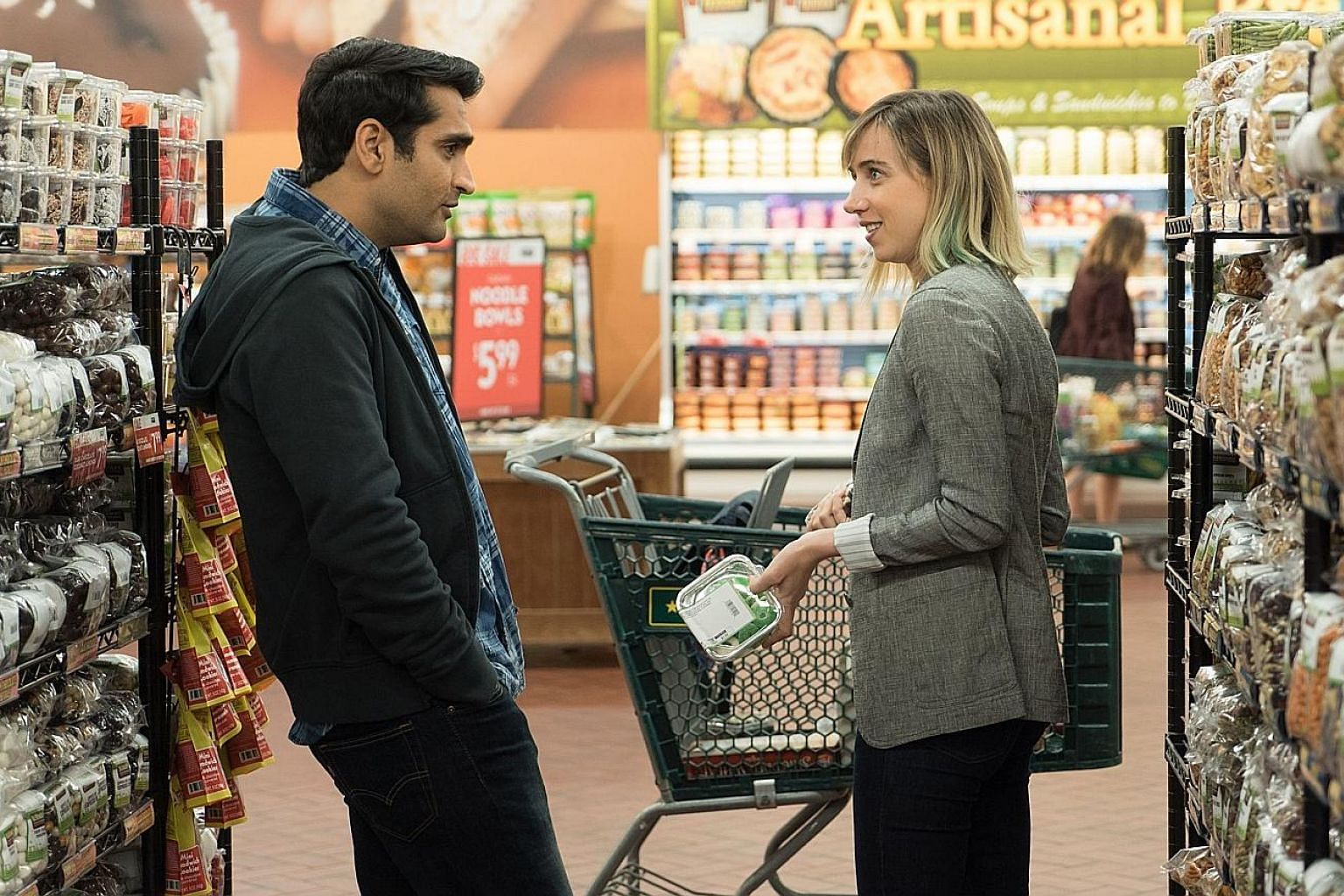 Kumail Nanjiani and Zoe Kazan in The Big Sick. Nanjiani, a Pakistani American, plays himself in the movie, which is based on his life.