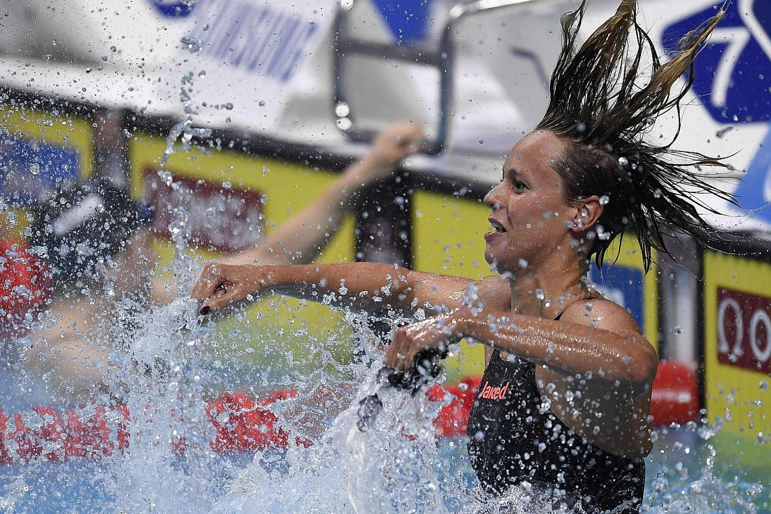 Italy's Federica Pellegrini celebrates after winning the women's 200m freestyle final at the world championships in Budapest.