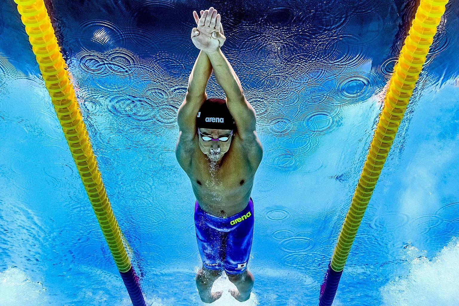Japan's Daiya Seto, the reigning 400m individual medley world champion, competing in the 200m butterfly semi-finals at the world championships in Budapest. He entered yesterday's final as the top qualifier and eventually took the bronze.